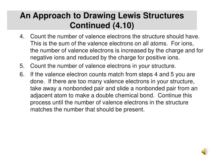 An Approach to Drawing Lewis Structures Continued (4.10)