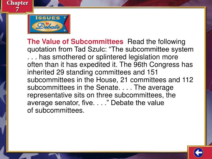 The Value of Subcommittees