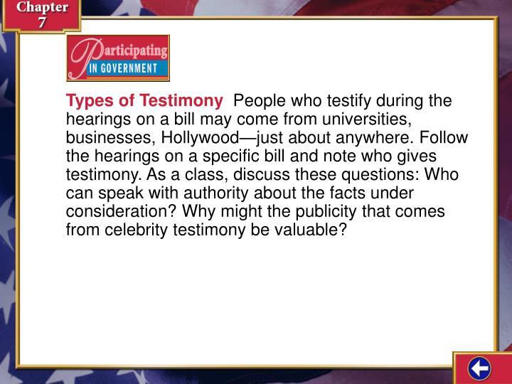 Types of Testimony