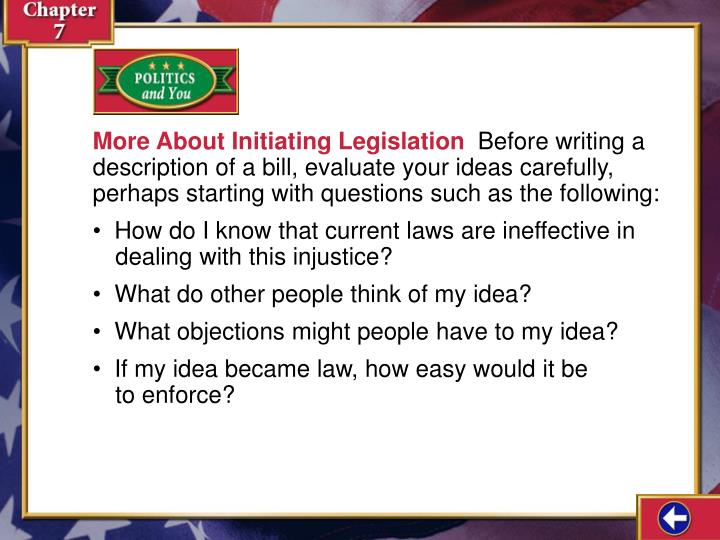 More About Initiating Legislation