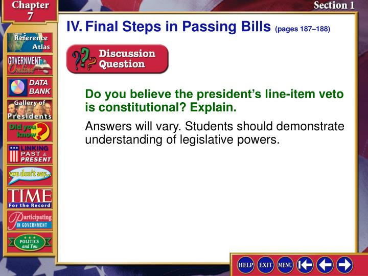 IV.Final Steps in Passing Bills