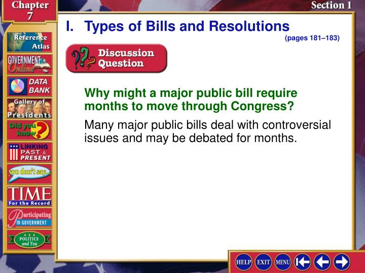 I.Types of Bills and Resolutions