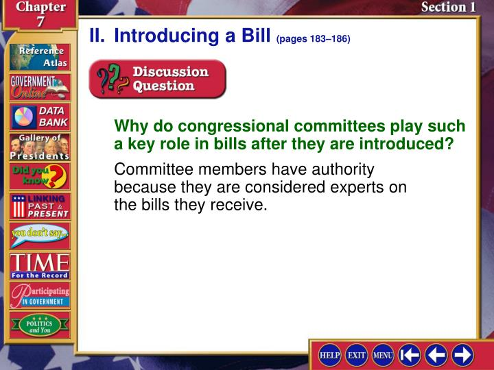 II.Introducing a Bill