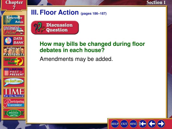 III.Floor Action