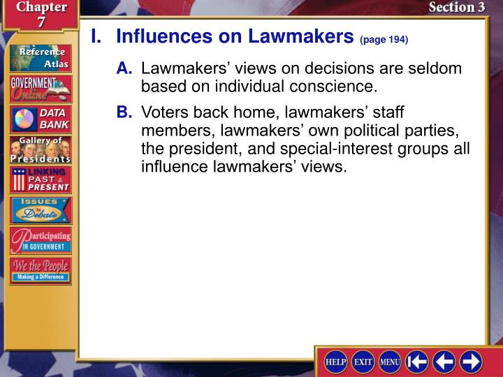 I.Influences on Lawmakers