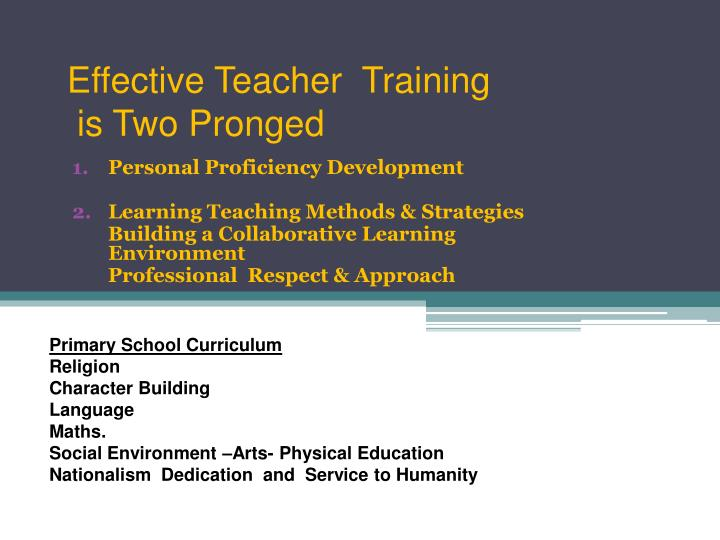 Effective Teacher  Training