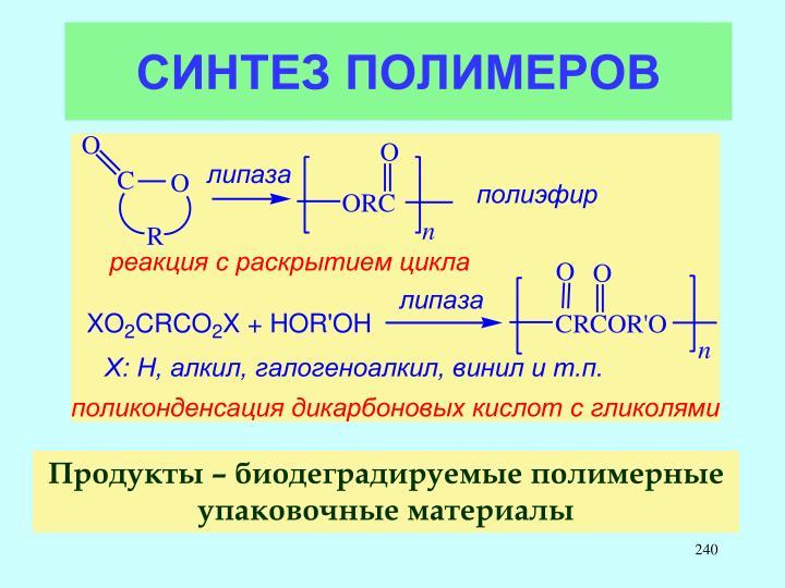 СИНТЕЗ ПОЛИМЕРОВ