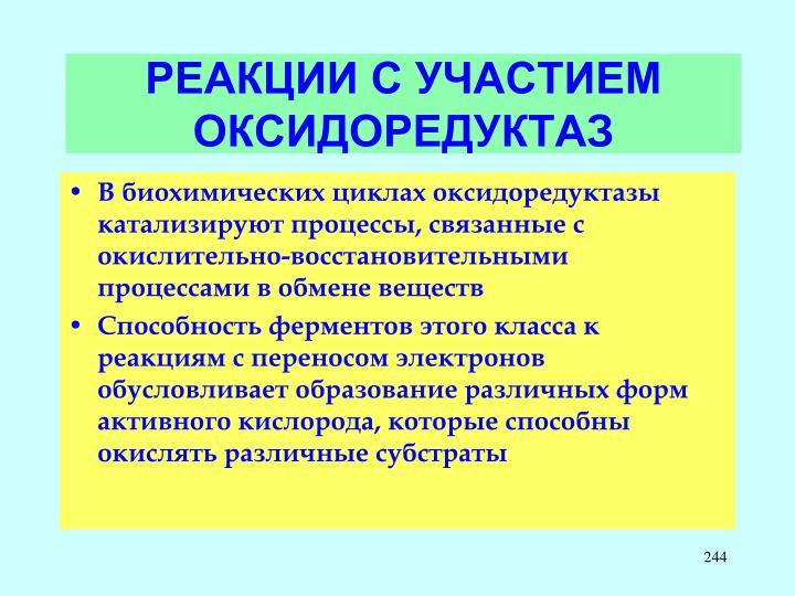 РЕАКЦИИ С УЧАСТИЕМ ОКСИДОРЕДУКТАЗ