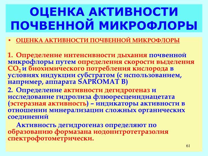 ОЦЕНКА АКТИВНОСТИ ПОЧВЕННОЙ МИКРОФЛОРЫ