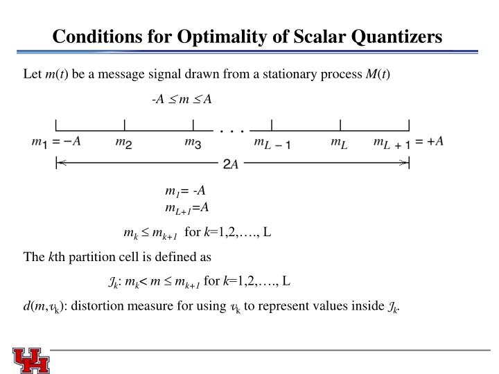Conditions for Optimality of Scalar Quantizers