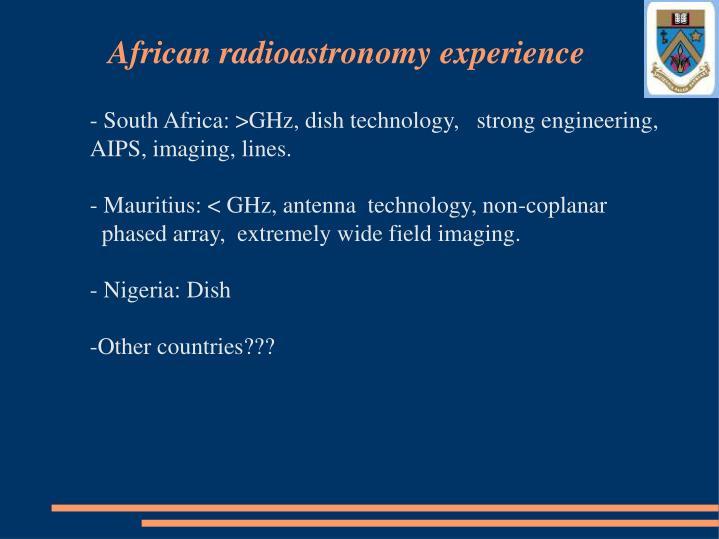 African radioastronomy experience