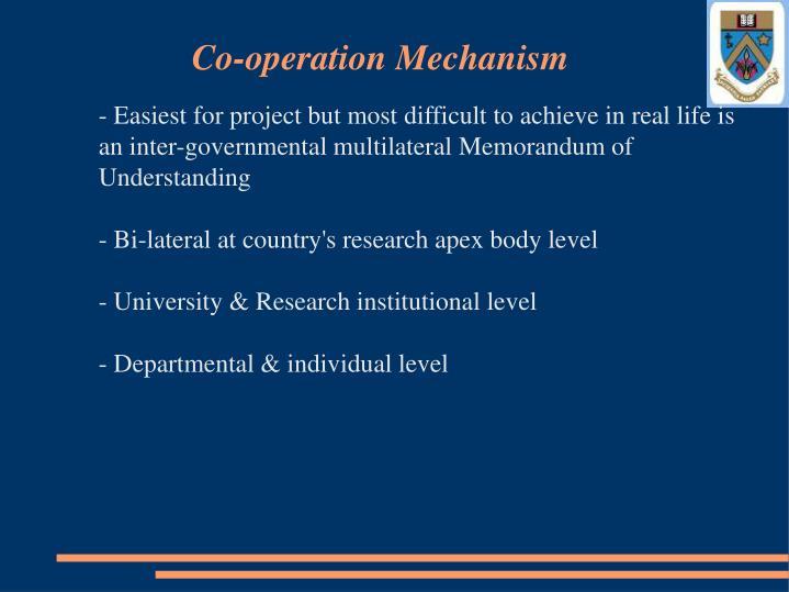 Co-operation Mechanism
