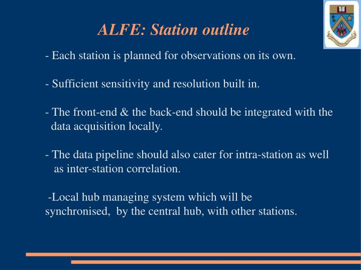 ALFE: Station outline