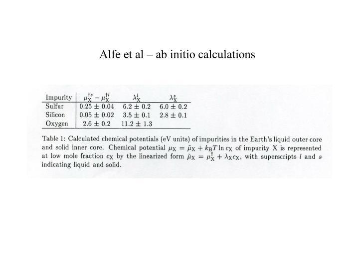 Alfe et al – ab initio calculations
