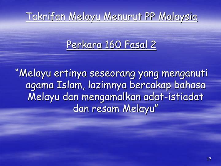Takrifan Melayu Menurut PP Malaysia