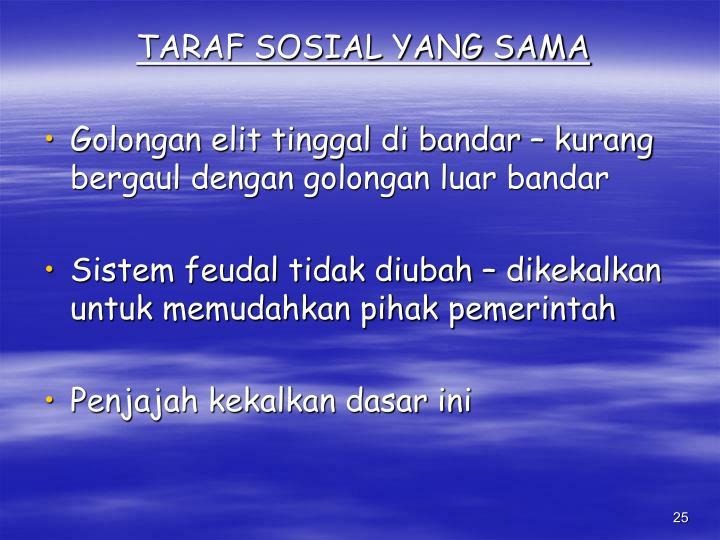 TARAF SOSIAL YANG SAMA