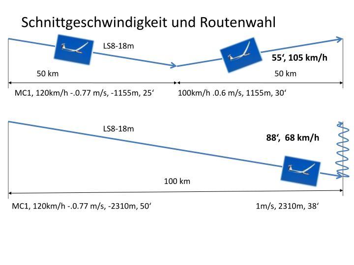 Schnittgeschwindigkeit und Routenwahl