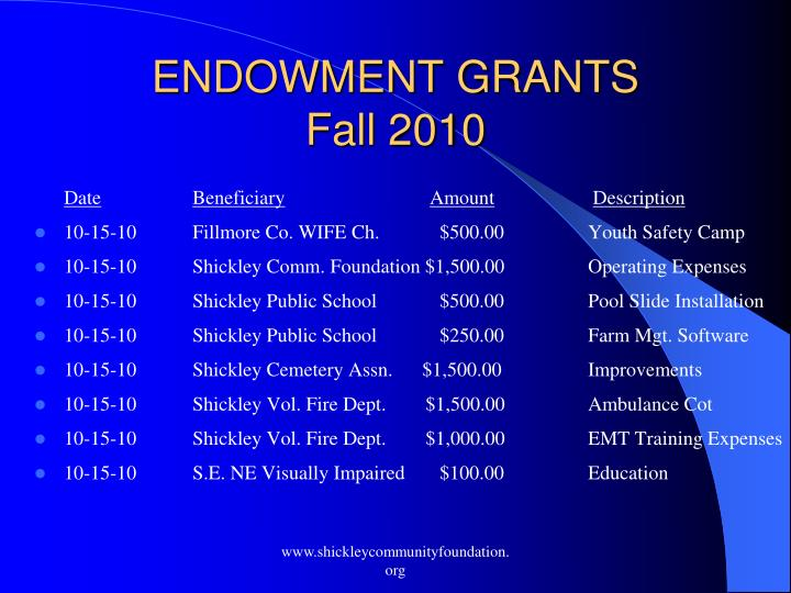 ENDOWMENT GRANTS