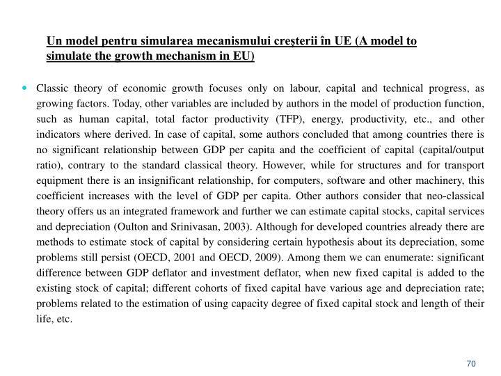 Un model pentru simularea mecanismului creșterii în UE