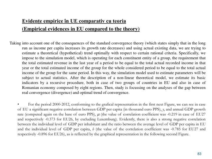 Evidențe empirice în UE comparativ cu teoria