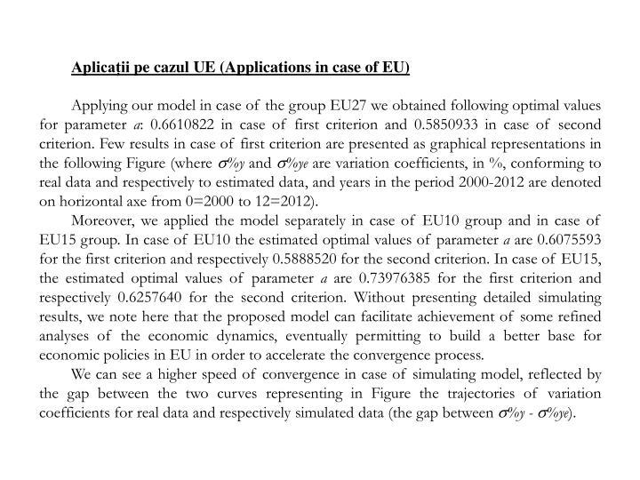 Aplicații pe cazul UE