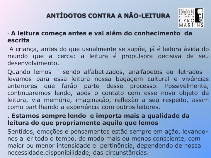 ANTÍDOTOS CONTRA A NÃO-LEITURA