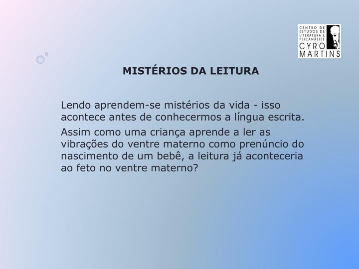 MISTÉRIOS DA LEITURA