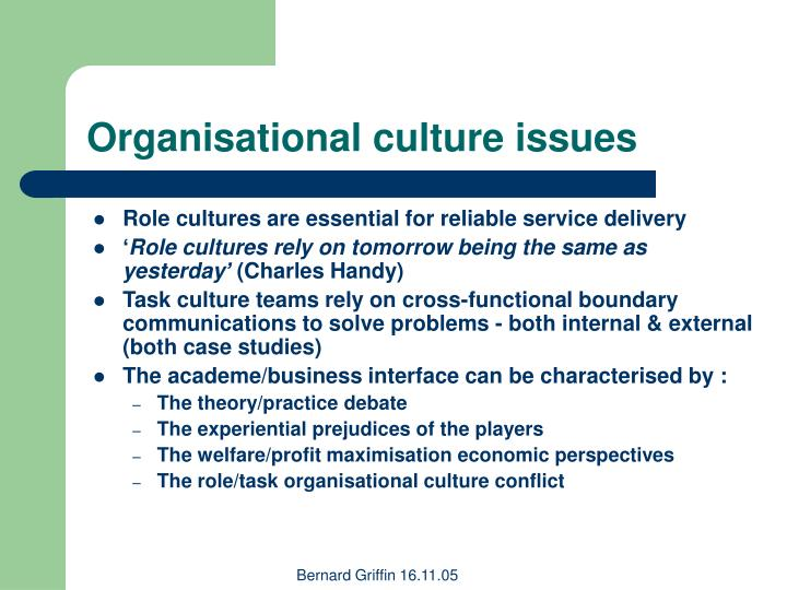 Organisational culture issues