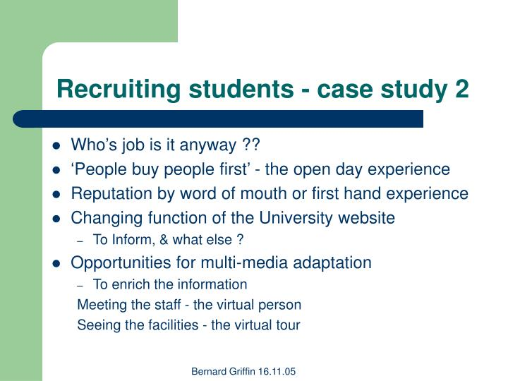 Recruiting students - case study 2