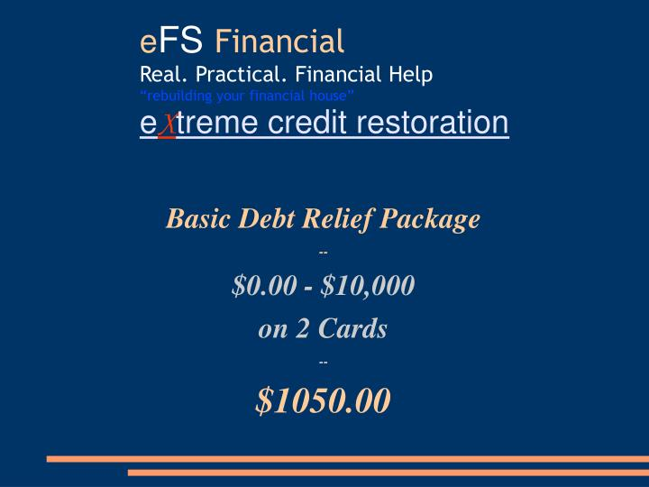 Basic Debt Relief Package