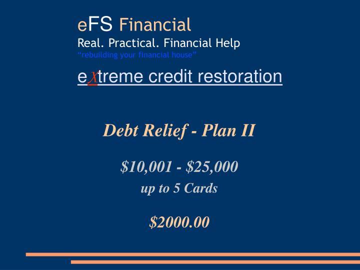 Debt Relief - Plan II