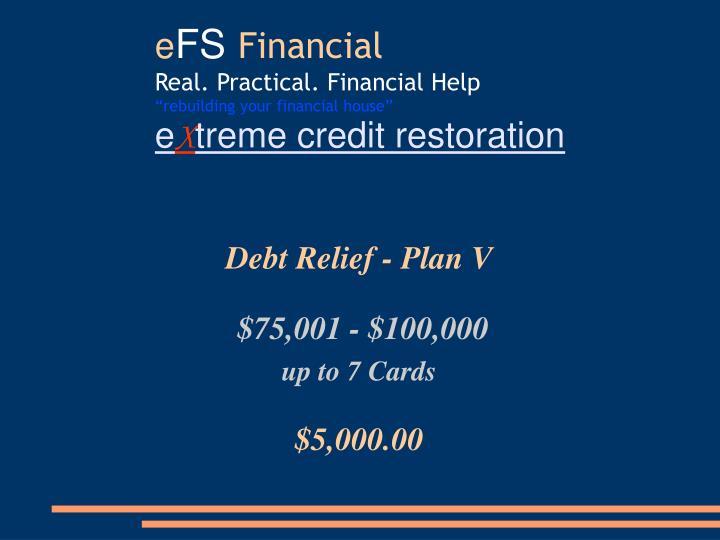 Debt Relief - Plan V