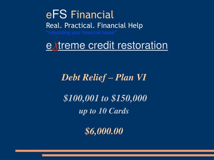 Debt Relief – Plan VI