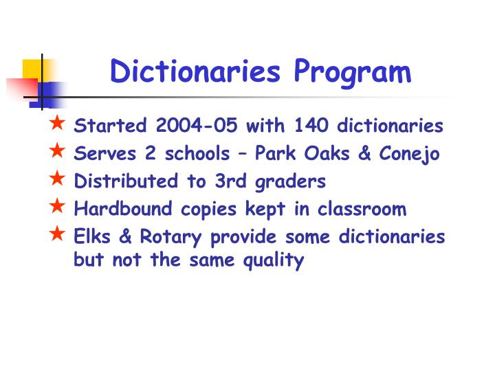 Dictionaries Program
