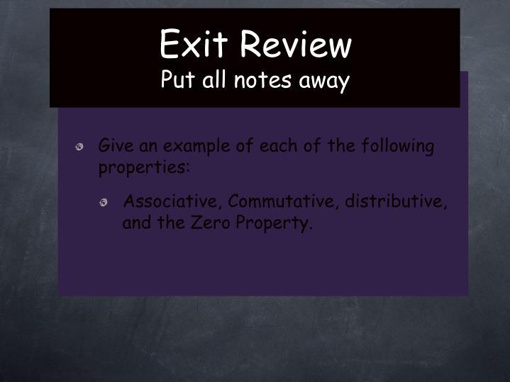 Exit Review