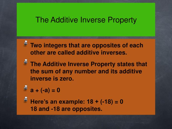 The Additive Inverse Property