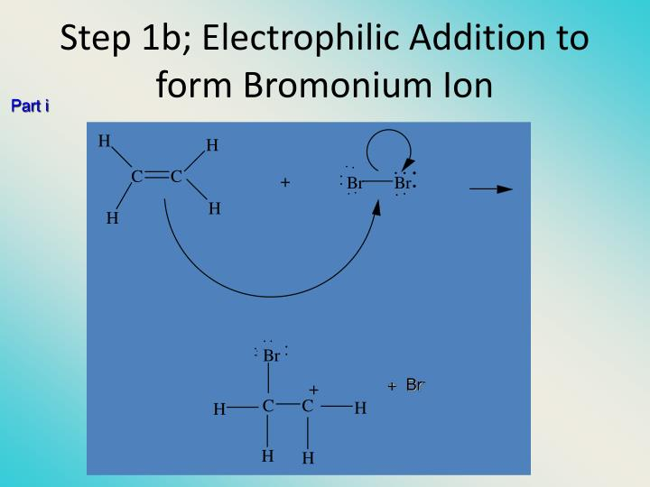 Step 1b; Electrophilic Addition to form Bromonium Ion