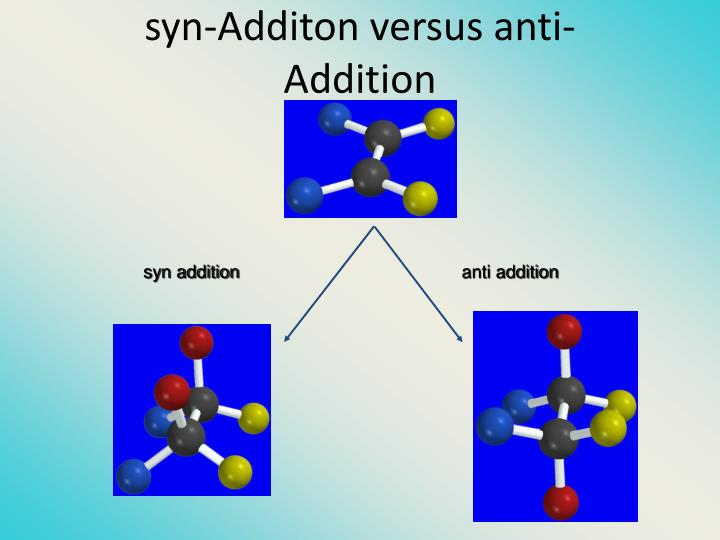 syn-Additon versus anti-Addition