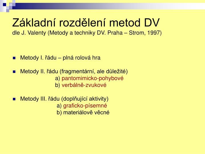 Základní rozdělení metod DV