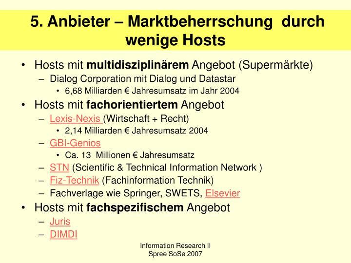 5. Anbieter – Marktbeherrschung  durch wenige Hosts