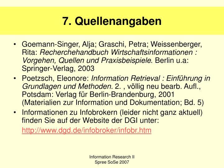 7. Quellenangaben