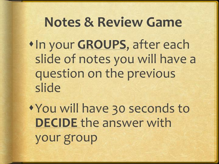 Notes & Review Game