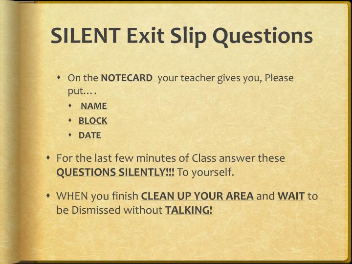 SILENT Exit