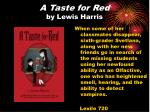a taste for red by lewis harris