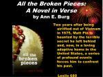 all the broken pieces a novel in verse by ann e burg