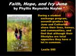 faith hope and ivy june by phyllis reynolds naylor