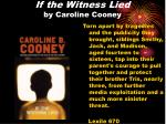 if the witness lied by caroline cooney