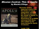 mission control this is apollo by mackie d arge