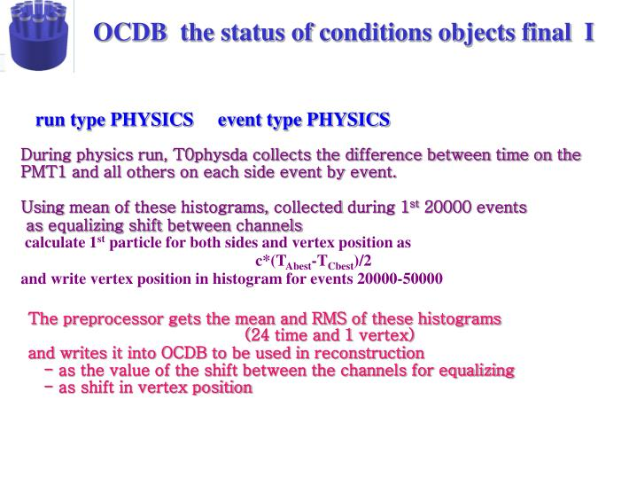 OCDB  the status of conditions objects final  I