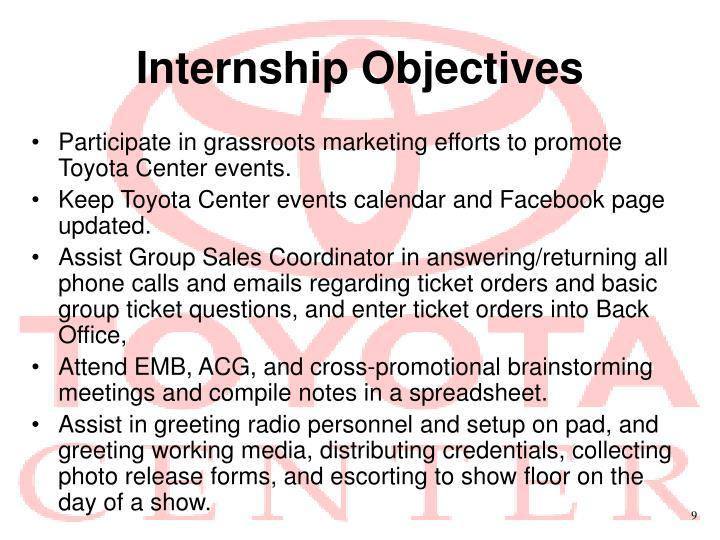 Internship Objectives
